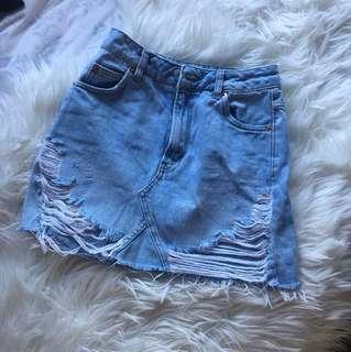 Topshop denim skirt ripped blue XS