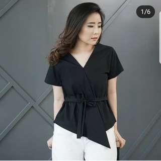 Basic kimono shirt warna hitam