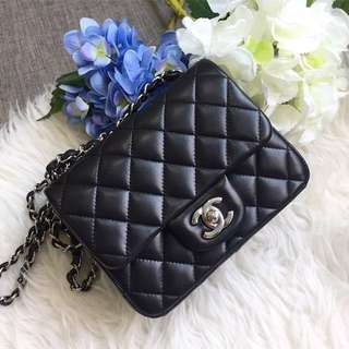 ❌SOLD❌ Full Set! Very Good Condition Chanel Square Mini in Black Lambskin and SHW