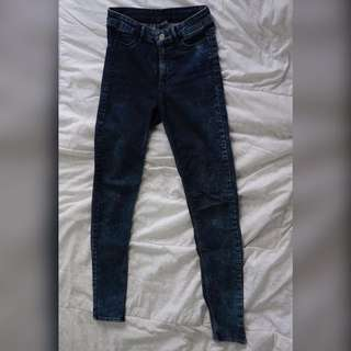 H&M High Waist Skinny Pants (navy wash)
