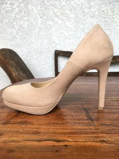Nude suede pumps from Payless