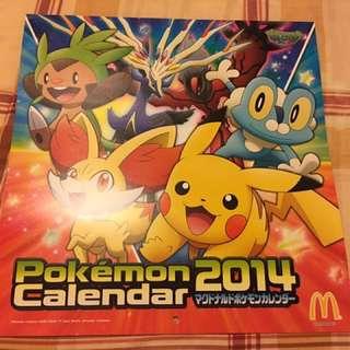 🚚 Pokemon月曆(2014年日本麥當勞限定版)