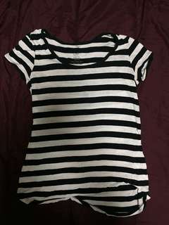 Black and White Striped Mango Shirt