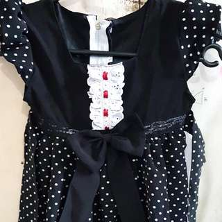 Dress Hitam Polkadot Putih