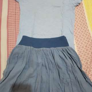 [PRE-LOVED] Blue shirt & skirt
