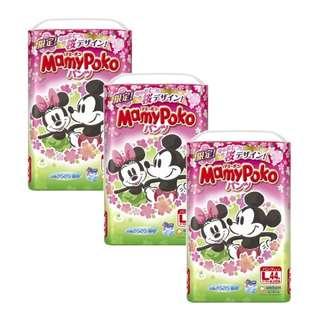 3 x MamyPoko Disney Mickey Pants L44 Sakura