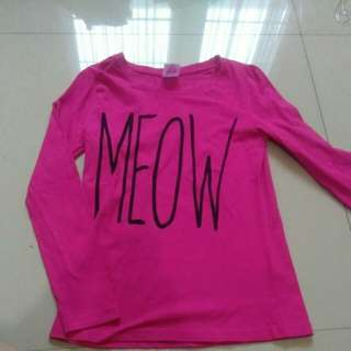 MEOW Girls Long Sleeve Pyjama Top