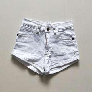 white curve cut high waist shorts