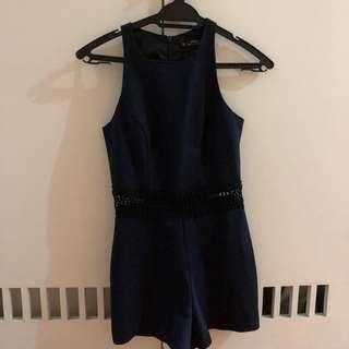 Miss Selfridge Blue Lace Romper/Playsuit