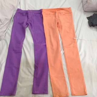 2 pairs colored crayon pants