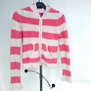Pink crop wol jaket sweater