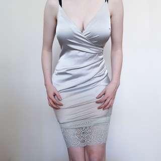 Silky Silver Dress