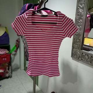 Stretched Pink striped top