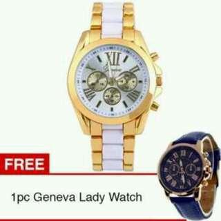 Geneva Jam Tangan Pria Wanita Fashion Casual Quartz Analog Men Lady Watch - White + Gratis 1pc Geneva Lady Analog Watch Blue #CNY300