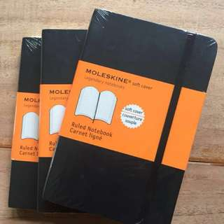 Moleskin Ruled Notebook Small Softcover x 3
