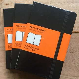 Moleskin Ruled Notebook Small Hardcover x 3