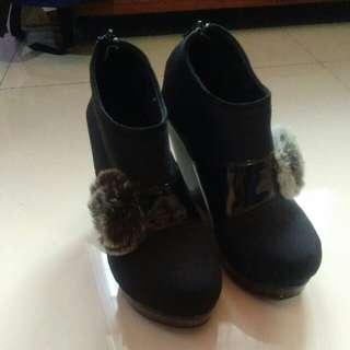 Women's Black Wedges Boots