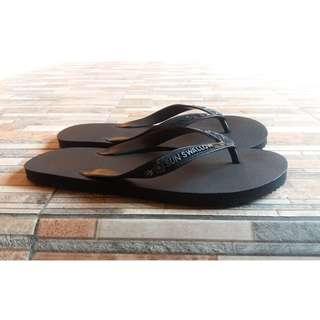 Sandal Jepit Swallow Black Hitam Polos Lusinan Paket C Ukuran 11