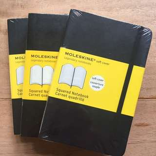 Moleskin Squared Notebook Small Softcover x 3