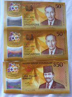 CIA 50 Singapore Brunei Commemorative Notes