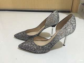 Charles and Keith heels silver color , blinks blinks , shinny , wedding , banquet, fine dining, annual dinner, pre wedding, photo shooting)
