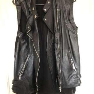 Leather biker sleeveless vest