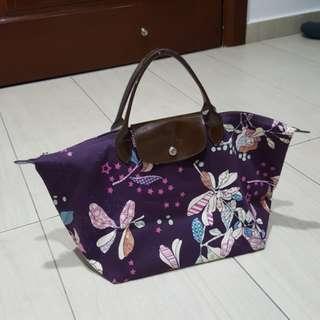Longchamp purple floral le pliage