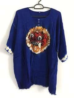 Kaos baju barong lengan pendek biru ukuran L tshirt bali