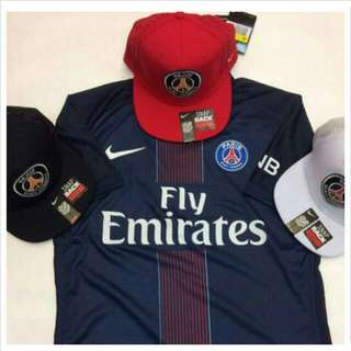 PSG Snapback Cap. In Black, Blue, Red, White.