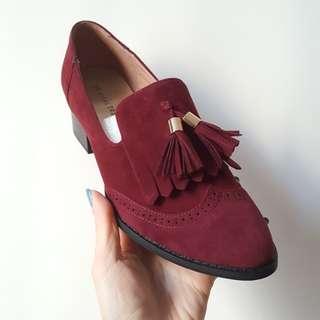 Oriental traffic red shoes 2 inch heel