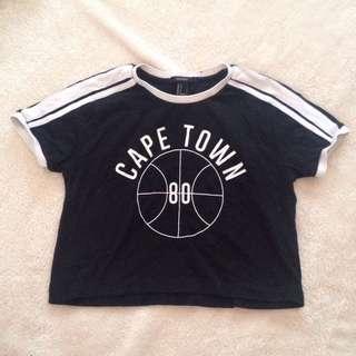 Forever21 ringer tee black varsity cropped shirt