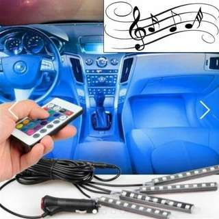 [MUSIC] 9 LED 4 strip interior car decorative light music controlled 16 colors