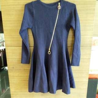 細碼女裝藍色針織連身裙Blue knit dress