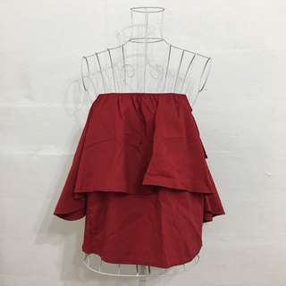 BN Oxblood Red Off Shoulder Top