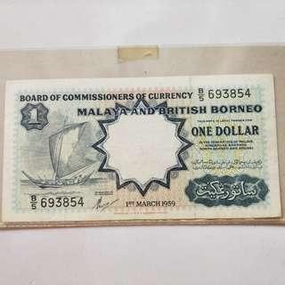 Malay Borneo banknotes $1