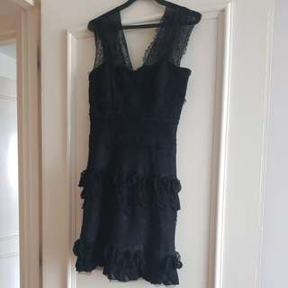 Elegant black cocktail dress with Lace, Ruffles & Gold Glitters.