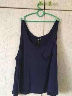 Dark Blue Sleeveless Crop Top