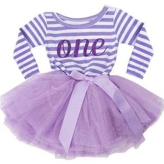 🦁Instock - 1st purple birthday dress, baby infant toddler girl children glad cute 123456789