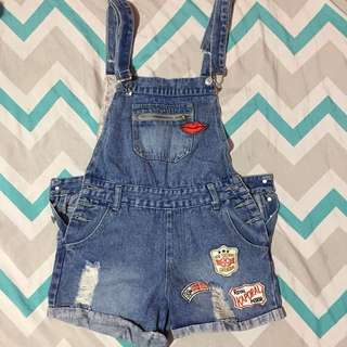 Denim jumper with cool patches