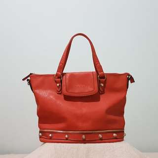 Authentic Anne Klein orange leather tote bag with sling