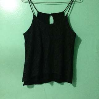 lacey tank top in black