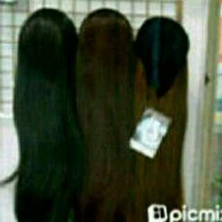 bando wig lurus hitam/wig pirang