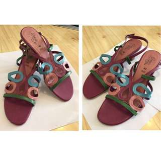 Brand New Colourful Real Leather Ladys Women Sandals Wedges High Heels Size 42 UK 7.5   全新 真皮 牛皮 多色 紫色 桃紅 綠色 粉紅 粉紅色 涼鞋 鞋 高跟鞋 增高鞋 party cocktail sexy dinner Super Soft and Light Purple Multicolor Green Blue Light Blue Baby  Blue Pink 性感 粉藍 大碼 鞋 女鞋 gala