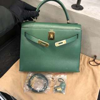 Hermes kelly 28 green epsom