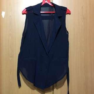 Navy Blue Chiffon Vest Top