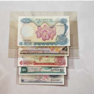 Singapore banknotes orchid series $1,5,10,25,50