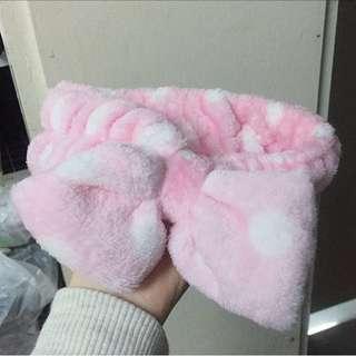 粉紅色洗面毛巾頭箍/頭巾