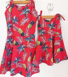 Mom&Baby 🍍Red Strap Dress