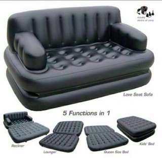 Bestway 5 in 1 Air Bed Inflatable Recliner Lounger Queen Size Bed Kid's Bed Love Seat Sofa with Electric Air Pump