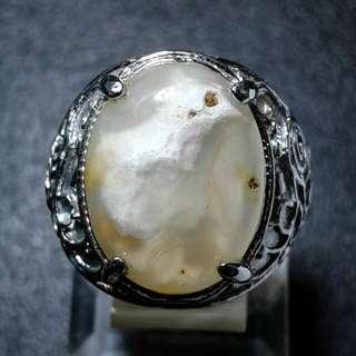Cincin Batu Akik Chalcedony Gambar Dalam 3D Unik